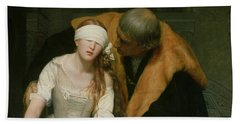 The Execution Of Lady Jane Grey Beach Towel by Hippolyte Delaroche