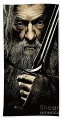 The Leader Of Mankind  - Gandalf / Ian Mckellen Beach Towel by Prar Kulasekara