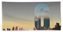Toronto Skyline - The Six Beach Towel by Serge Averbukh
