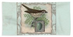 Welcome To Our Nest - Vintage Bird W Egg Beach Sheet by Audrey Jeanne Roberts