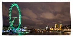 Westminster And The London Eye Beach Towel by Dawn OConnor