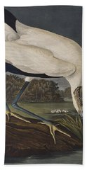 Wood Ibis Beach Towel by John James Audubon