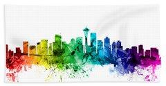 Seattle Washington Skyline Beach Sheet by Michael Tompsett