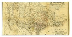 1849 Texas Map Beach Towel by Digital Reproductions
