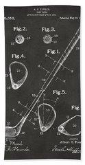 1910 Golf Club Patent Artwork - Gray Beach Towel by Nikki Marie Smith