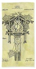 1912 Cuckoo Clock Patent Beach Towel by Dan Sproul