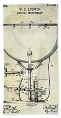 1913 Ludwig Drum Patent  Beach Towel by Jon Neidert