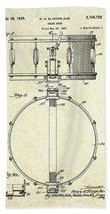 1939 Slingerland Snare Drum Patent S1 Beach Towel by Gary Bodnar