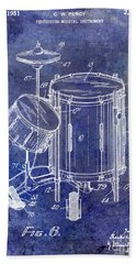 1951 Drum Kit Patent Blue Beach Towel by Jon Neidert