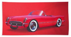 1953 Corvette Classic Vintage Sports Car Automotive Art Beach Towel by John Samsen