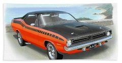 1970 Barracuda Aar  Cuda Classic Muscle Car Beach Towel by John Samsen