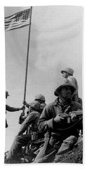1st Flag Raising On Iwo Jima  Beach Towel by War Is Hell Store