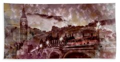 City-art London Westminster Bridge At Sunset Beach Towel by Melanie Viola