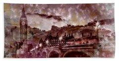 City-art London Westminster Bridge At Sunset Beach Sheet by Melanie Viola