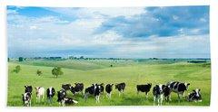 Happy Cows Beach Towel by Todd Klassy