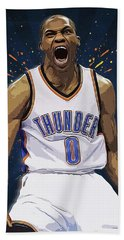 Russell Westbrook Beach Towel by Semih Yurdabak