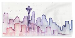 Seattle Skyline Watercolor Beach Sheet by Olga Shvartsur