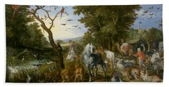The Entry Of The Animals Into Noah's Ark Beach Sheet by Jan Brueghel the Elder