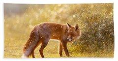 The Fox And The Fairy Dust Beach Sheet by Roeselien Raimond
