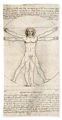 The Proportions Of The Human Figure Beach Towel by Leonardo Da Vinci