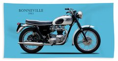 Triumph Bonneville 1963 Beach Towel by Mark Rogan