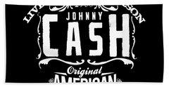 Johnny Cash Beach Towel by Hans Wolfgang Muller Leg