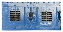 Old Blue Door Beach Towel by Tom Gowanlock