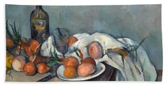 Still Life With Onions  Beach Towel by Paul Cezanne
