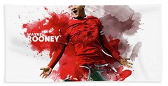 Wayne Rooney Beach Towel by Semih Yurdabak