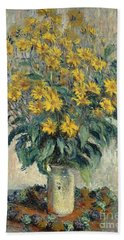 Jerusalem Artichoke Flowers Beach Towel by Claude Monet