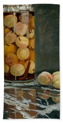 Jar Of Peaches Beach Sheet by Claude Monet
