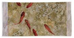 7 Pesci Rossi E Oro Beach Towel by Guido Borelli