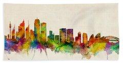 Sydney Australia Skyline Beach Sheet by Michael Tompsett