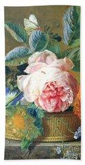 A Basket With Flowers Beach Towel by Jan van Huysum