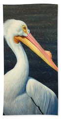 A Great White American Pelican Beach Towel by James W Johnson