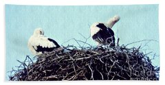 A Happy Stork Couple Beach Towel by Sarah Loft