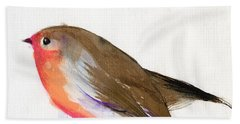 A Magical Little Robin Called Wisp Beach Sheet by Nancy Moniz