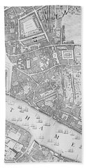 A Map Of The Tower Of London Beach Towel by John Rocque