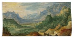 A Mountainous Landscape With Travellers And Herdsmen On A Path Beach Towel by Jan Brueghel and Joos de Momper