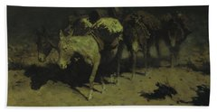 A Pack Train Beach Towel by Frederic Remington