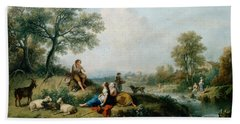 A Pastoral Scene With Goatherds Beach Sheet by Francesco Zuccarelli