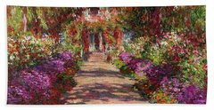 A Pathway In Monets Garden Giverny Beach Sheet by Claude Monet