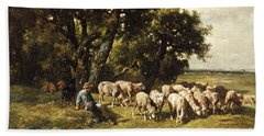 A Shepherd And His Flock Beach Sheet by Charles Emile Jacques