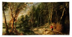 A Shepherd With His Flock In A Woody Landscape Beach Towel by Rubens