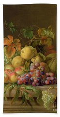 A Still Life Of Melons Grapes And Peaches On A Ledge Beach Sheet by Jakob Bogdani
