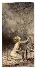 A Sudden Swarm Of Winged Creatures Brushed Past Her Beach Sheet by Arthur Rackham