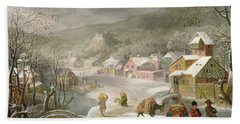 A Winter Landscape With Travellers On A Path Beach Towel by Denys van Alsloot