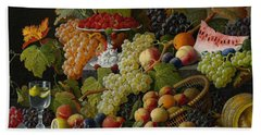 Abundant Fruit Beach Sheet by Severin Roesen