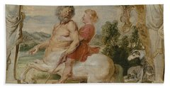 Achilles Educated By The Centaur Chiron Beach Towel by Peter Paul Rubens