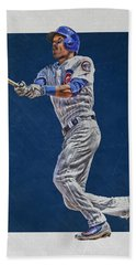 Addison Russell Chicago Cubs Art Beach Towel by Joe Hamilton